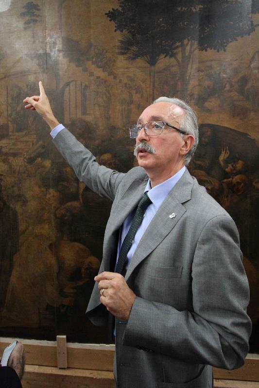 Dr. Marco Ciatti, Superintendent of Opificio Delle Pietre Dure. While explaining the restoration of the famous painting by Leonardo da Vinci, The Adoration of the Magi