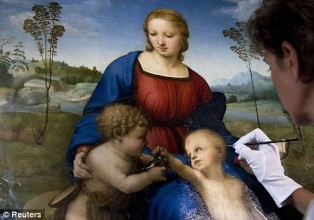 The Madonna of the Goldfinch, Raphael in 1506, restoration l