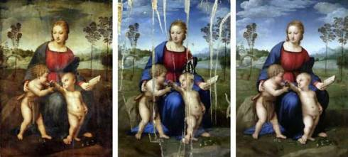 The three phases of the restoration of the famous work by Raphael.